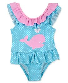 Mothercare Sleeveless Dotted Swimsuit Whale Patch - Sky Blue Pink