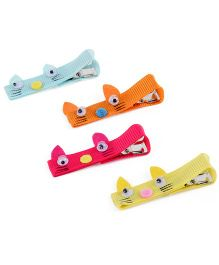 Mothercare Hair Clips Kitty Face Design Pack Of 4 - Multicolor