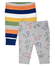 Mothercare Full Length Elasticated Pajama Pack Of 2 Printed - Grey Multi Color