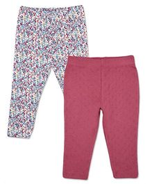 Mothercare Full Length Elasticated Waist Leggings Pack Of 2 Floral Print - Maroon Multi Color