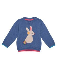 Mothercare Full Sleeves Hooded Sweater Bunny Design - Blue