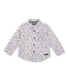 Mothercare Full Sleeves Shirt Car Print - White
