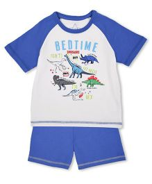 Mothercare Half Sleeves Night Suit Set Dino Print - Blue & Off White