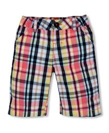Mothercare Knee Length Shorts With Checks Design - Multi Color