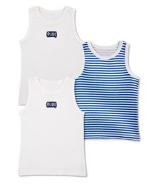 Mothercare Sleeveless Vests Printed Set Of 3 - White Blue