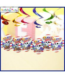Funcart Pirate Party Theme Swirl Decorations - Pack Of 6