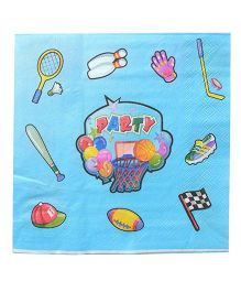 Funcart Sporty Party Napkin Blue - Pack Of 12