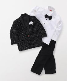 Babyhug 3 Piece Party Suit With Bow & Polka Dot Print - Black & White