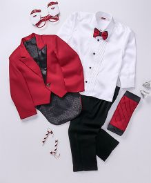 Babyhug 4 Piece Party Wear Suit With Bow - Red Black