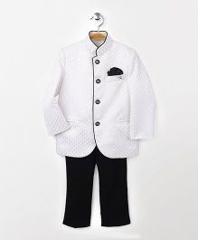 Babyhug Full Sleeves Party Wear Jodhpuri Coat With Trouser - Off White