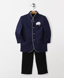 Babyhug Full Sleeves Party Wear Jodhpuri Coat With Trouser - Navy Black