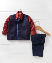 Babyhug 3 Piece Party Suit - Blue Maroon