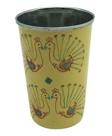 The Crazy Me Hanpainted Peacok Design Tumbler Yellow - Large