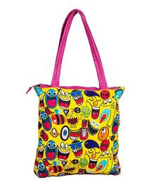The Crazy Me Quirk Up Doodle Tote Bag - Yellow