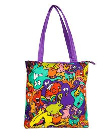 The Crazy Me Mr Doodle Monster Colourful Pattern Tote Bag - Purple Multicolor