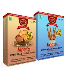 Early Foods Vegan Dry Fruit Jaggery Rusk And Ajwain Sticks Combo - Pack Of 2
