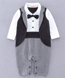 Dells World Smart Checkered Print Romper With A Jacket & Bow - Black & White