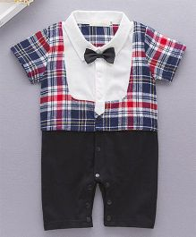 Petite Kids Romper Style Suit With Bow - Black