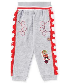 Wow Clothes Full Length Lounge Pants With Teddy Patch - Grey Red