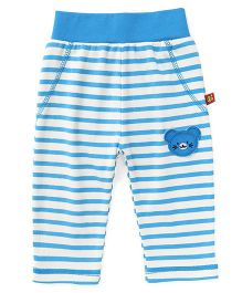 Wow Clothes Full Length Lounge Pants With Teddy Patch - Blue