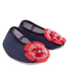 Daizy Stylish Denim Booties With Embellished Flower Applique - Blue