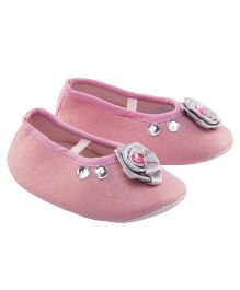 Daizy Shimmer Booties With Stone Embellished Flower Applique - Baby Pink