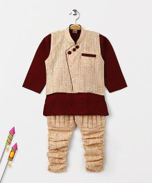 Babyhug Full Sleeves Kurta And Jodhpuri Breeches With Jacket - Maroon Cream