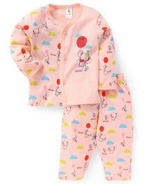 Cucumber Full Sleeves Night Suit Set Elephant Print - Peach