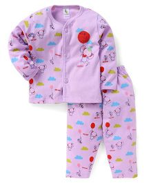 Cucumber Full Sleeves Night Suit Set Elephant Print - Purple