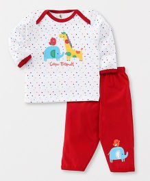 Cucumber Full Sleeves Night Suit Friends Print - White & Red