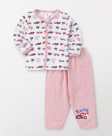 Cucumber Full Sleeves T-Shirt And Pajama Vehicle Print - White Peach