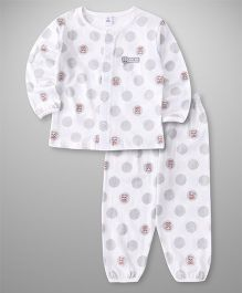 ToffyHouse Full Sleeves Night Suit Teddy Print - White