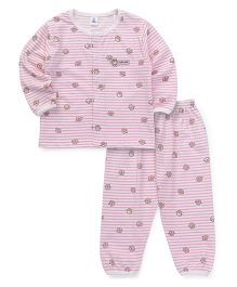 ToffyHouse Full Sleeves Night Suit Owls Print - Pink