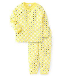ToffyHouse Full Sleeves Night Suit Floral Print - Yellow