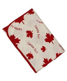 Kadam Baby Receiving Blanket Canada Leaf Print - Off White Red