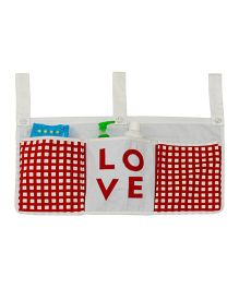 Kadam Baby 3 Pocket Crib Organiser Love Patch - White Red