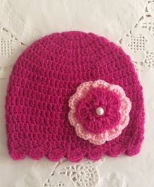 Buttercup From KnittingNani Flower Design Crochet Cap - Magenta
