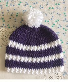Buttercup From KnittingNani Pom Pom Design Crochet Cap - Purple & White
