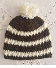 Buttercup From KnittingNani Pom Pom Design Crochet Cap - Brown & Off White