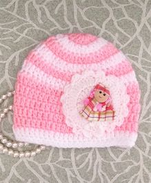 Buttercup From KnittingNani Doll Design Crochet Cap - Pink & White