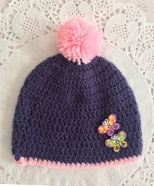 Buttercup From KnittingNani Pom Pom Butterfly Design Crochet Cap - Pink & Purple
