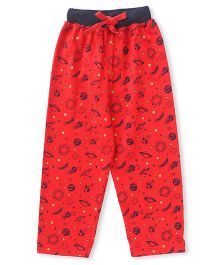 Fido Full Length Lounge Pant Universe Print - Red