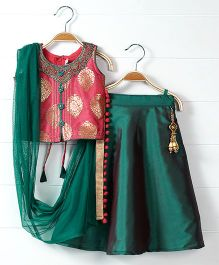 Babyhug Sleeveless Choli And Lehenga With Dupatta Self Design - Green