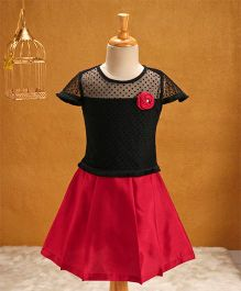 Babyhug Cap Sleeves Top & Skirt Set - Black Fuchsia
