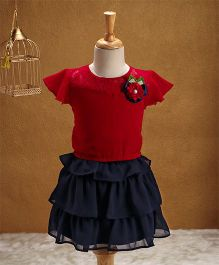 Babyhug Party Wear Cap Sleeves Top And Layer Skirt Flower Applique - Red Navy Blue