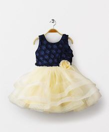 Babyhug Sleeveless Party Frock Floral Applique - Navy