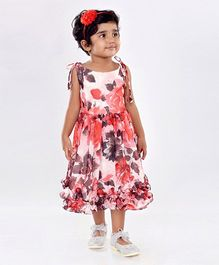 Birthdaywala Dress Shoulder Tie Up Floral Printed Dress - Red
