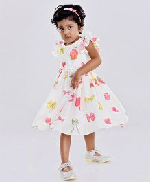 Birthdaywala Dress Cupcake & Bow Printed Dress With Frilled Sleeve - White
