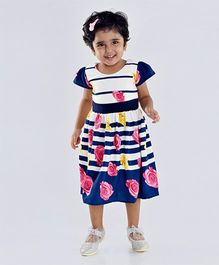 Birthdaywala Dress Stripes & Floral Printed Dress - Blue & Cream