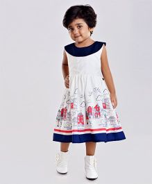 Birthdaywala Dress City Landscape Printed Dress - White